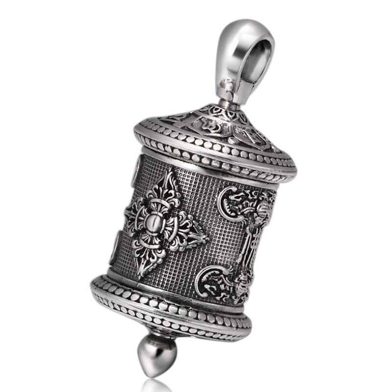 S925 sterling silver retro buddha six-word mantra King Kong pestle openable box pendant (FGL) цена