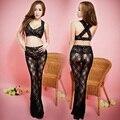 2016 Sexy Black Top de Verão Das Mulheres Novas Calças de Renda Calças de Cintura Alta Perna Larga Palco Montado Retrato Sexy Parte Superior Do Tubo