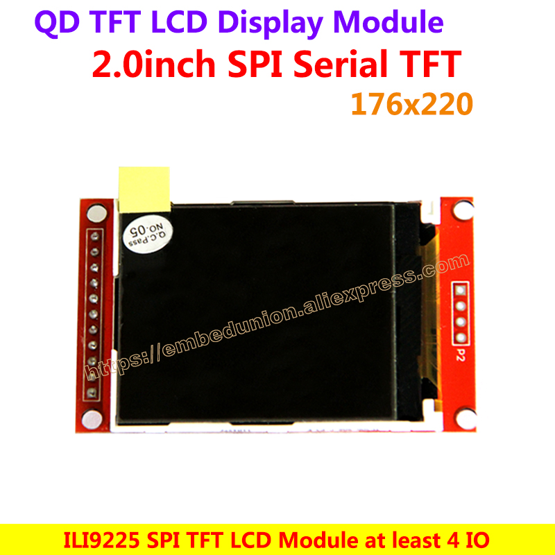 2.0 Inch 176*220 SPI TFT Color LCD Display Module Drive Demo Board ILI9225 Driver IC , At least connection 4 IO will be light