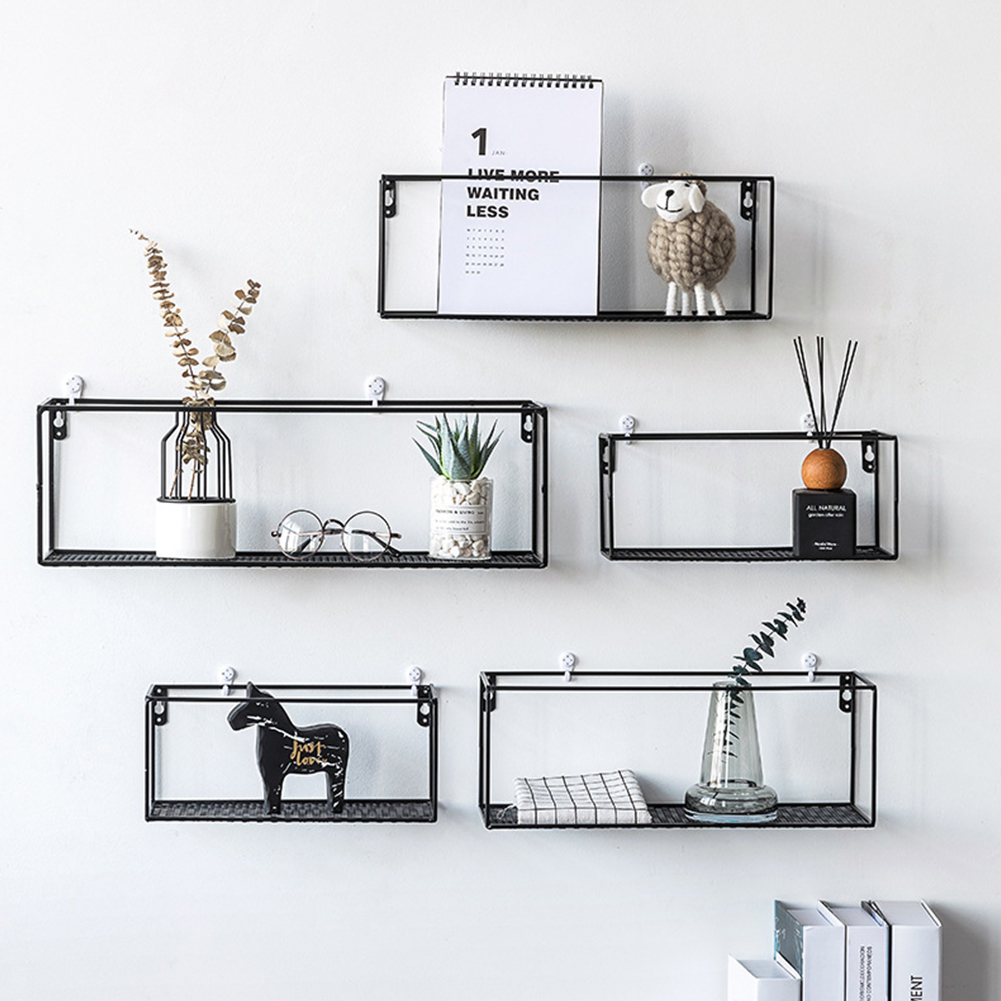 Shelf Compact Home Decor Magazine Rectangle Storage Rack Hanging Books Wrought Iron Wall Mounted Newspapers Nordic Style Basket