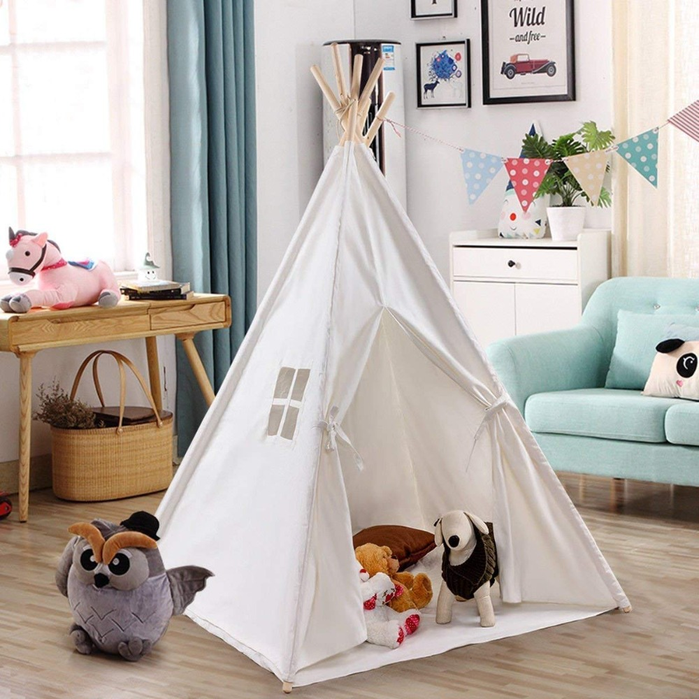 Cotton Canvas Teepee Tent Kids Tipi Kids Tepee Tent Tippi Wigwam for Kids red chevron canvas dog tent house pet teepee tipi dog tee pee cat teepee