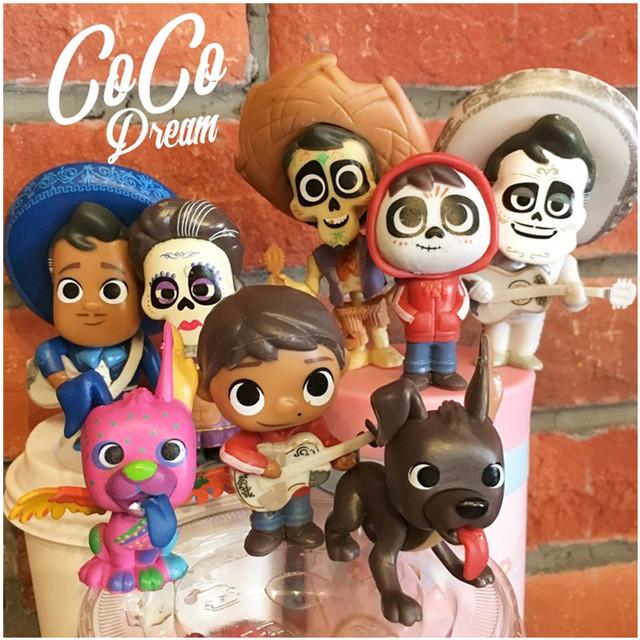 Disney New Action Figure Pixar Coco Ernesto Miguel Dante 5-9cm 8pcs