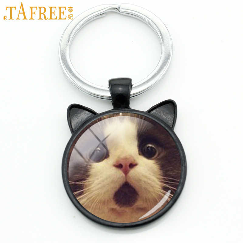 TAFREE Fashion Cats Men Keychain Funny Surprised Cat Animal Key Chain Ring Holder Cute Grumpy Cat Glass Cabochon Jewelry CN801