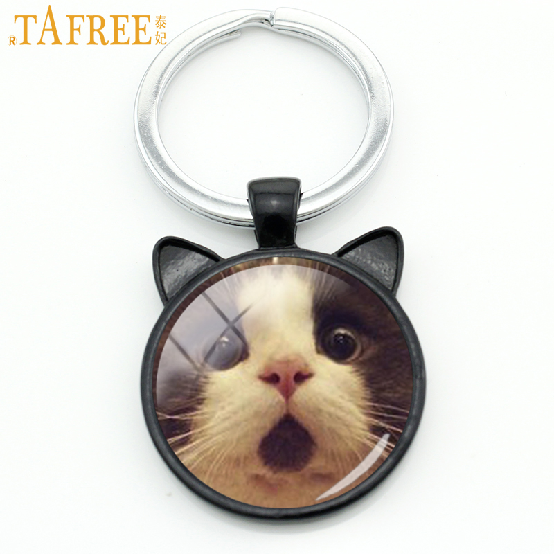 TAFREE Fashion Cats Men Keychain Funny Surprised Cat Animal Key Chain Ring Holder Cute Grumpy Cat Glass Cabochon Jewelry CN801 цены онлайн