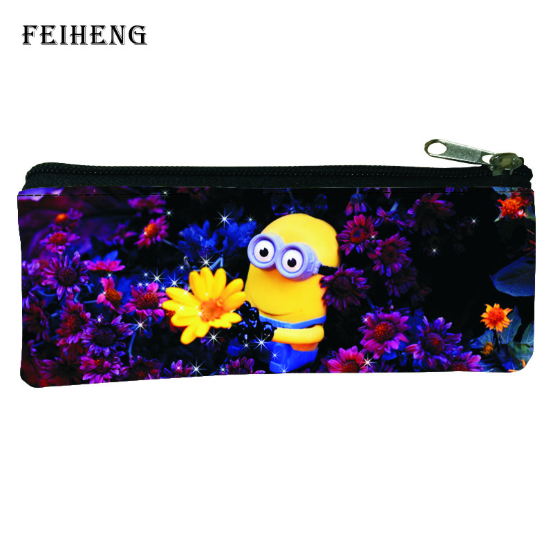 2016 Prints Flower Cartoon Minions Kids Pen Bags Boys Coin Purses Baby Children School Pencil Bag for Girls Key Wallets Womens
