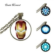 2017 New Limited Unisex Collier Collares Iron Man Pendant Necklace Fashion Round Glass Ironman Long Necklaces PendantsHZ1