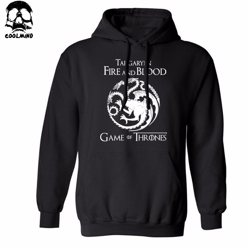 THE COOLMIND Top quality cotton blend game of thrones men hoodies casual winter is coming house of stark men sweatshirt with hat 5
