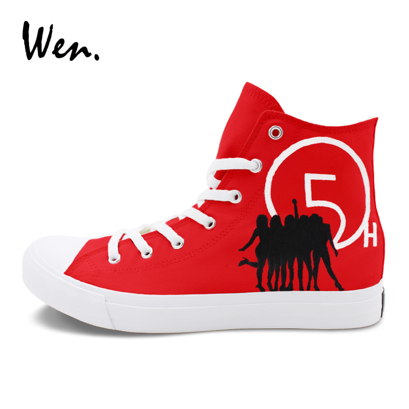 Wen Canvas Shoes Red Painting High Top Flat Design Fifth Harmony Hand Painted Shoes Men Women Sneakers Athletic Skate wen men women sneakers white anime design tokyo ghouls hand painted canvas shoes classic athletic sport skate flat