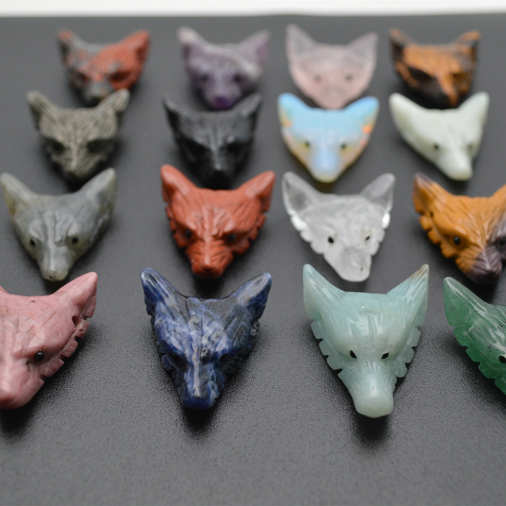 Wholesale Smaller size Carved Wolf Head Animal 30x35mm Natural Stones Pendant fit Necklace making Fashion Jewelry