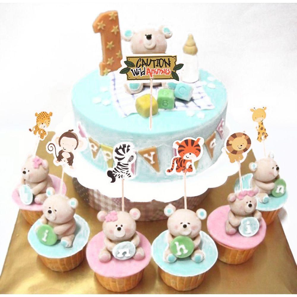 Jungle//Safari Cupcake Party Rings,Multi-Color,Plastic,Bakery Crafts,Kids Party