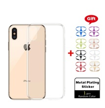 цена на Ultra Thin Slim Transparent Case For iPhone 7 8 Plus XR With Metal Plating Sticker Soft TPU X For iPhone XS Max 6 6s Plus Simple