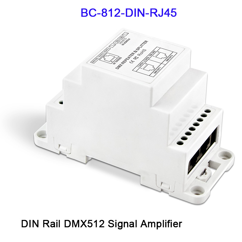 BC-812-DIN/BC-812-DIN-RJ45 DC12-24V DIN Rail led DMX512 Signal Amplifier One input channel,two output channels DMX controller 3 channel dmx wifi master controller dmx512 signal output working with 3 channels dmx decoders