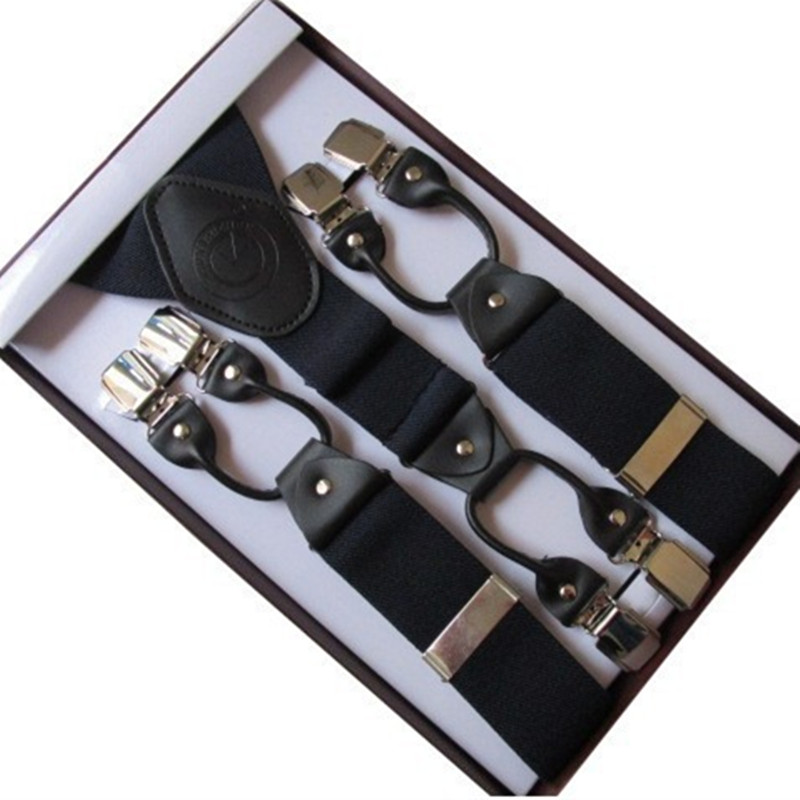 OnnPnnQ High Quality Gift Box Men Suspenders Vintage Adjust Elastic Braces 6 Clip-on Clothing Accessories For Father Husband