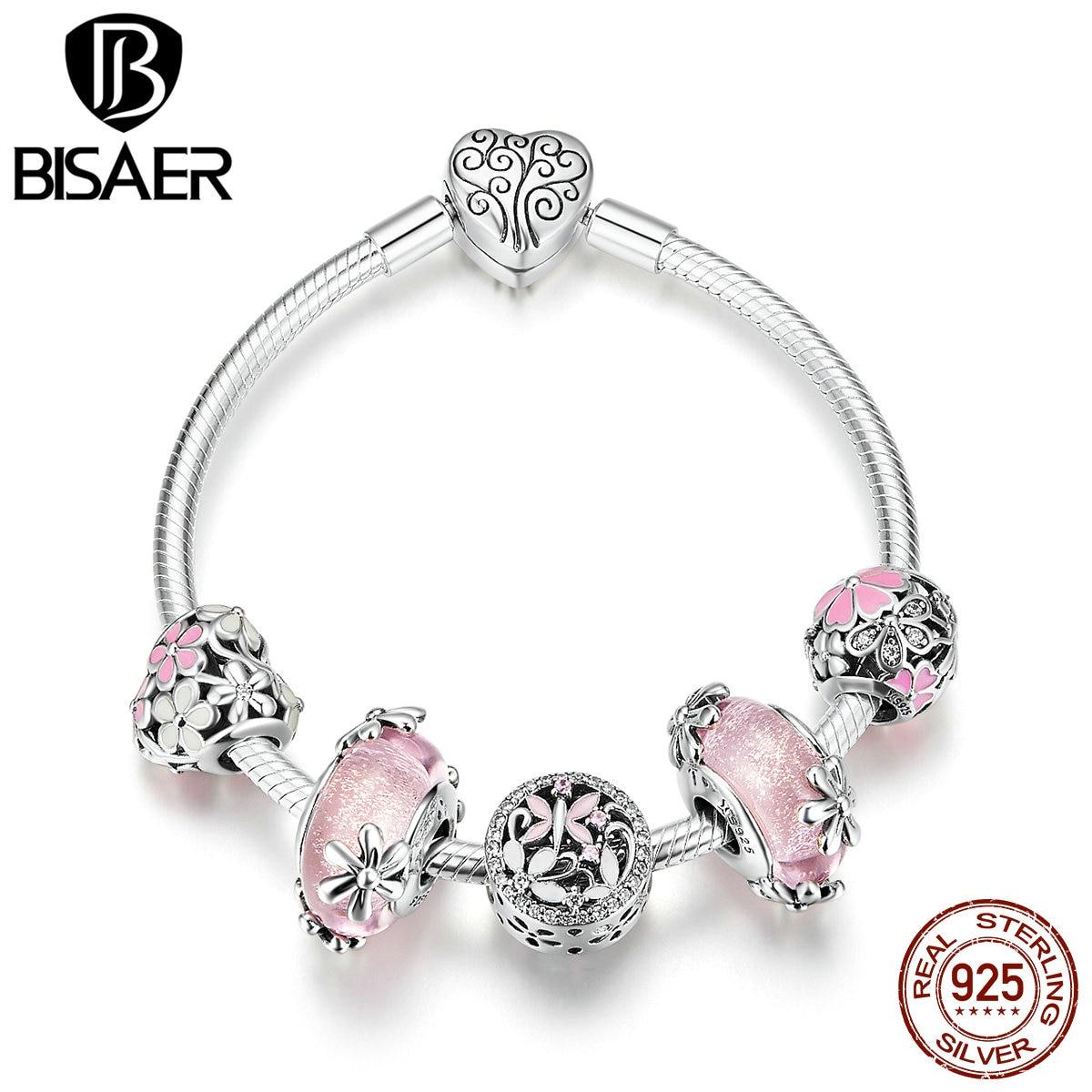 BISAER браслеты в форме сердца, 925 пробы, серебряный, розовый, Маргаритка, персик, цветок, сердце, женские браслеты для женщин, серебро 925, ювелирн... - 2