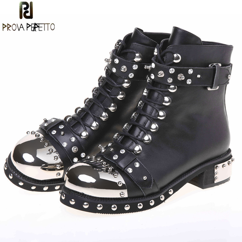 Prova Perfetto Fashion Punk Gothic Style Lace Up Belts Rivet Round Toe Boots Women Shoes Short Boots Haulage Motor Mujer ZapatosProva Perfetto Fashion Punk Gothic Style Lace Up Belts Rivet Round Toe Boots Women Shoes Short Boots Haulage Motor Mujer Zapatos