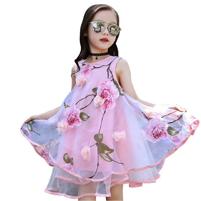 2017 Summer Girls Kids Flower Lace Knee High Ball Gown Sleeveless Baby Children Clothes Kids Party Dresses For 4~12 Years sleeveless children baby girls kids clothing summer princess party flower bow gown full dresses 2 4 6 7 8 9 10 years