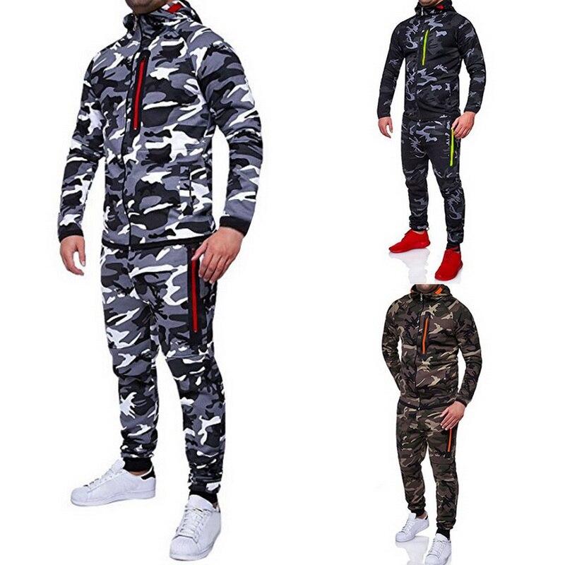 2019 Men Camouflage Printed Jackets+Pants Set Male Tracksuit Fashion Outdoor Casual Sportswear Sweatshirt Men's Gym Clothing 3XL