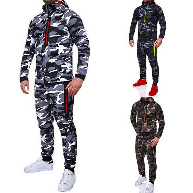 2019 男性迷彩プリントジャケット + パンツセット男性トラックスーツファッションアウトドアカジュアルスポーツウェアトレーナー男性のジム服 3XL