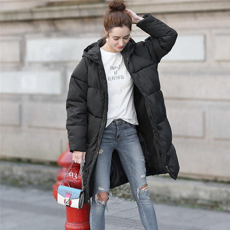 Women Hooded Coat Thick Large Cotton Clothing Women Mid Length Hoodies Long Parkas Padded Loose Fleece Coats Lady Cotton Jacket