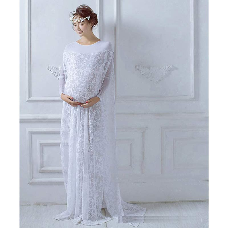 ФОТО Pregnancy Dress Photography Lace Boat Neck Broadcloth Full  Solid Straight The Lace Is Pretty Also Maternity Photography Props