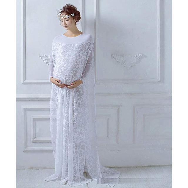 Pregnancy Dress Photography Lace Boat Neck Broadcloth Full  Solid Straight The Lace Is Pretty Also Maternity Photography Props