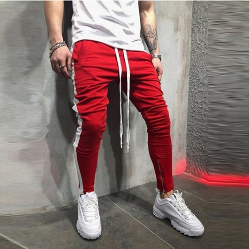 1pc The Latest Fashion Style Men's Casual Lace Up Pants Color Matching Hip Hop Stripe Fitness Foot Zipper Stitching Trousers Bringing More Convenience To The People In Their Daily Life