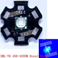 Epileds 10W XML T6 Led Emitter Lamp Light Blue 450NM - 455NM 3.2-3.8V 1000-3000MA 100-200LM On 20MM16MM PCB Board For Flashlight