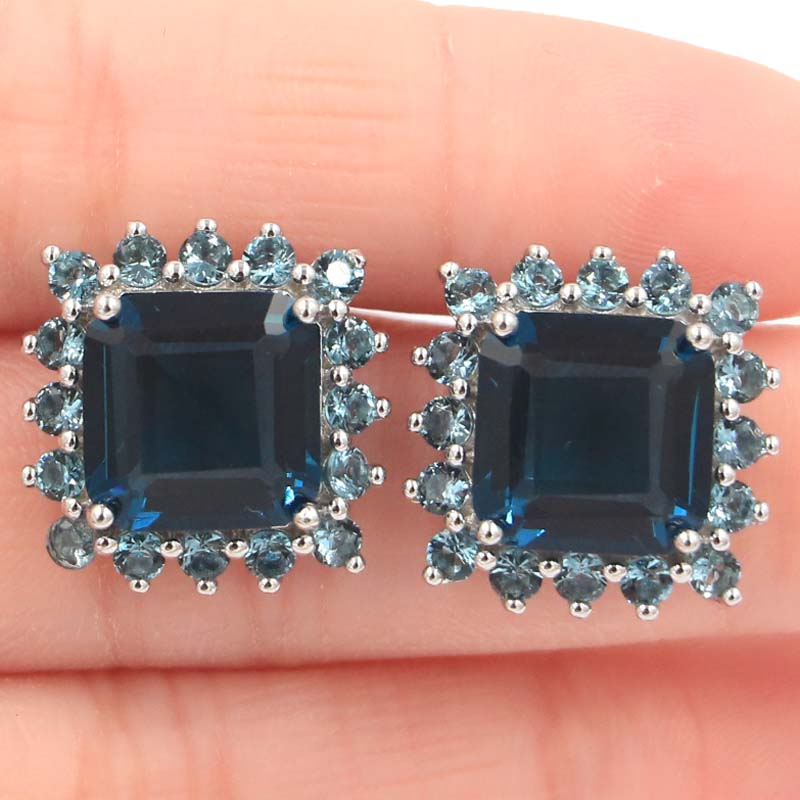 Deluxe Long London Blue Topaz White CZ SheCrown Silver Pendientes 17x17mm