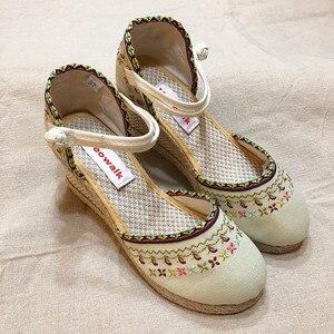 Image 2 - Veowalk Bohemian Women Canvas Wedge Espadrilles Sandals Handmade Linen Ankle Strap 7cm High Heel Platforms Comfort Summer Shoes