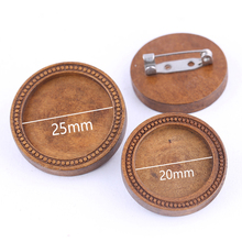 reidgaller 5pcs 20mm 25mm round wood cabochon brooch base settings diy blank stainless steep pin backs diy basis for brooches steep [xbox one]