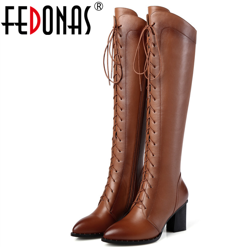 FEDONAS 1Fashion Women Knee High Boots Genuine Leather Autumn Winter Warm High Heels Shoes Sexy Party Wedding Brand Shoes Woman fedonas vintage women genuine leather shoes spring autumn winter high quality fashion wedding party shoes woman new flats