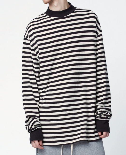 5d3d61585943bf Men oversized black white stripe long Sleeve T-shirt streetwear hip hop  plus striped tee