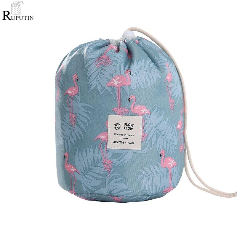 RUPUTIN Drop Ship Drawstring Barrel Shaped Cosmetics Storage Bags Large Capacity Makeup Boxs Travel Waterproof Wash