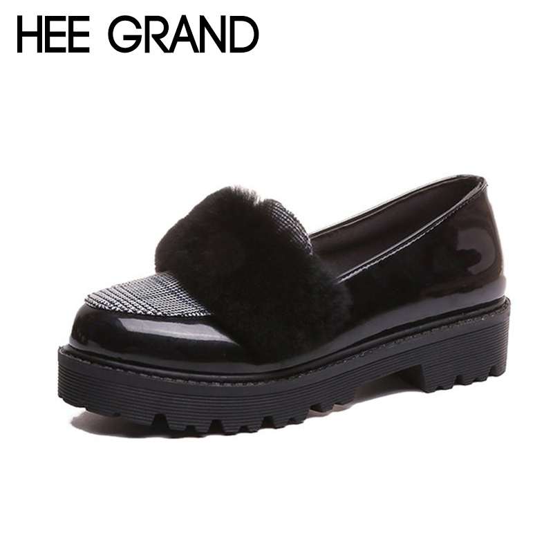 HEE GRAND 2018 New Fashion Flats Shoes Women Oxfords Faux Fur PU Leather Solid Mother Causal Slip-on British Style Shoes XWD6955 hee grand solid patent leather women oxfords british new fashion platform flats casual buckle strap ladies shoes woman xwd5833