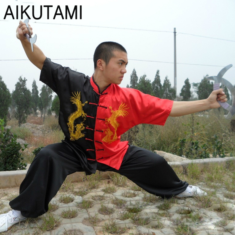 Chinese Dragon Printed Wushu Uniforms Tai Chi Costume Black Red Loose Jacket And Pants Set Zen Clothing Tai Chi Tuta