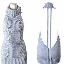 Лето 2017 г. Новый водолазка без рукавов Длинный virgin killer японский трикотажные Сексуальная спинки женские свитера пуловеры размер L