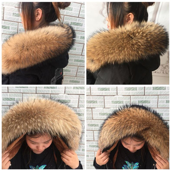100% Real Fur Collar For Parkas Coats luxury Warm Natural Raccoon Scarf Women Large Fur Scarves Male Down jacket fur hat 75 70cm 1