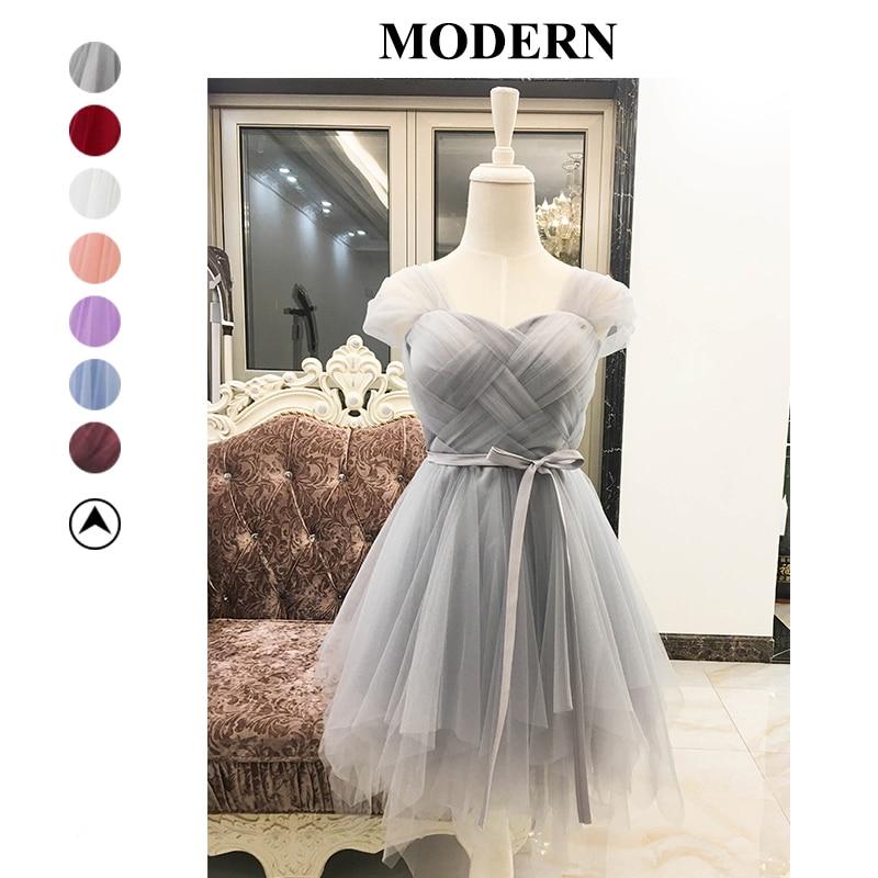 Bridesmaid Dresses Short Gray Color Criss-cross Wedding Party Prom Dress Ball Gown Dress Plus Size Mini Empire Prom Dresses