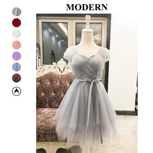 Bridesmaid Dresses Short Gray Color Criss-cross Wedding Party Prom Dress Ball Gown Plus Size Mini Empire