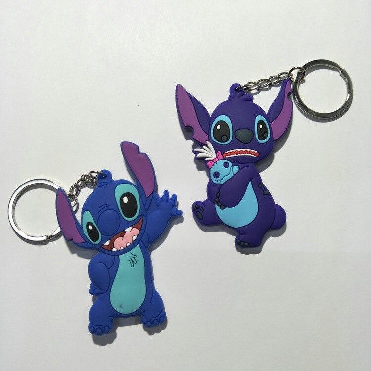 1PCS 6 to 9CM STITCH Cartoon Anime Key Chain PVC Figure Keyring Toy Keychain Keyholder Birthday Gift NEW Trinkets