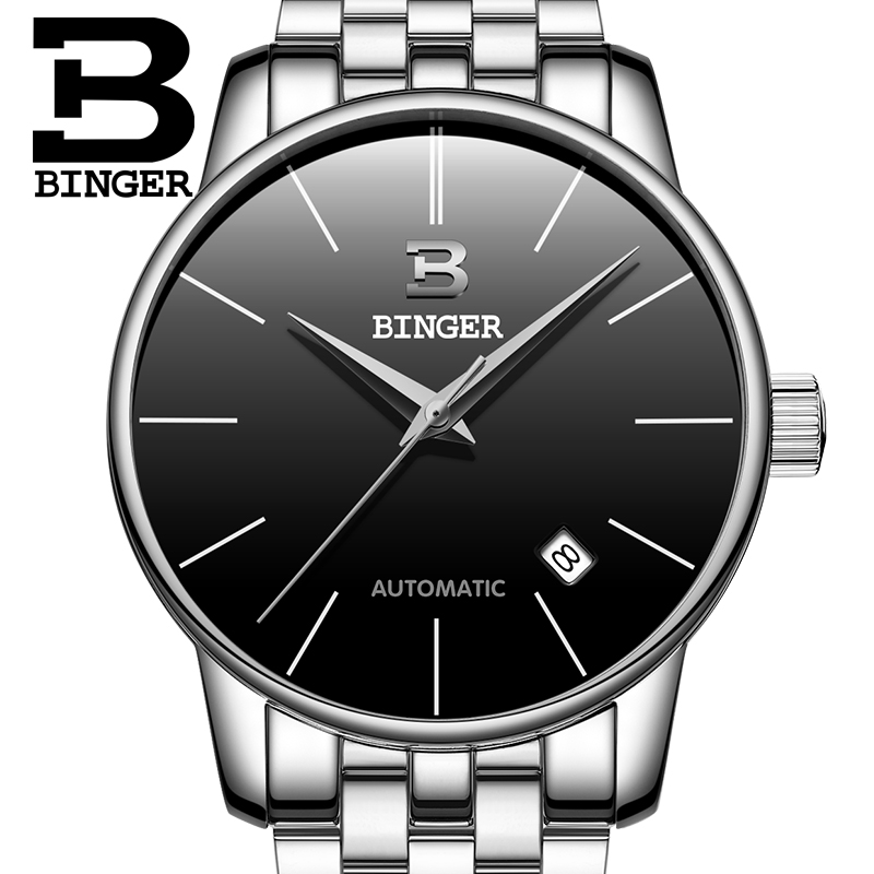 2016 new black men's simple wristwatch stainless steel casual automatic clock mechanical...