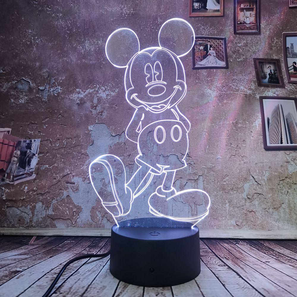 Betrouwbare Dropship Leuke Mickey Mouse Lamp 3d Nachtverlichting 7 Auto Kleurverloop Illusion Led Usb Meisjes Kid Speelgoed Tafel Xmas Decor Geschenken Waterdicht, Schokbestendig En Antimagnetisch