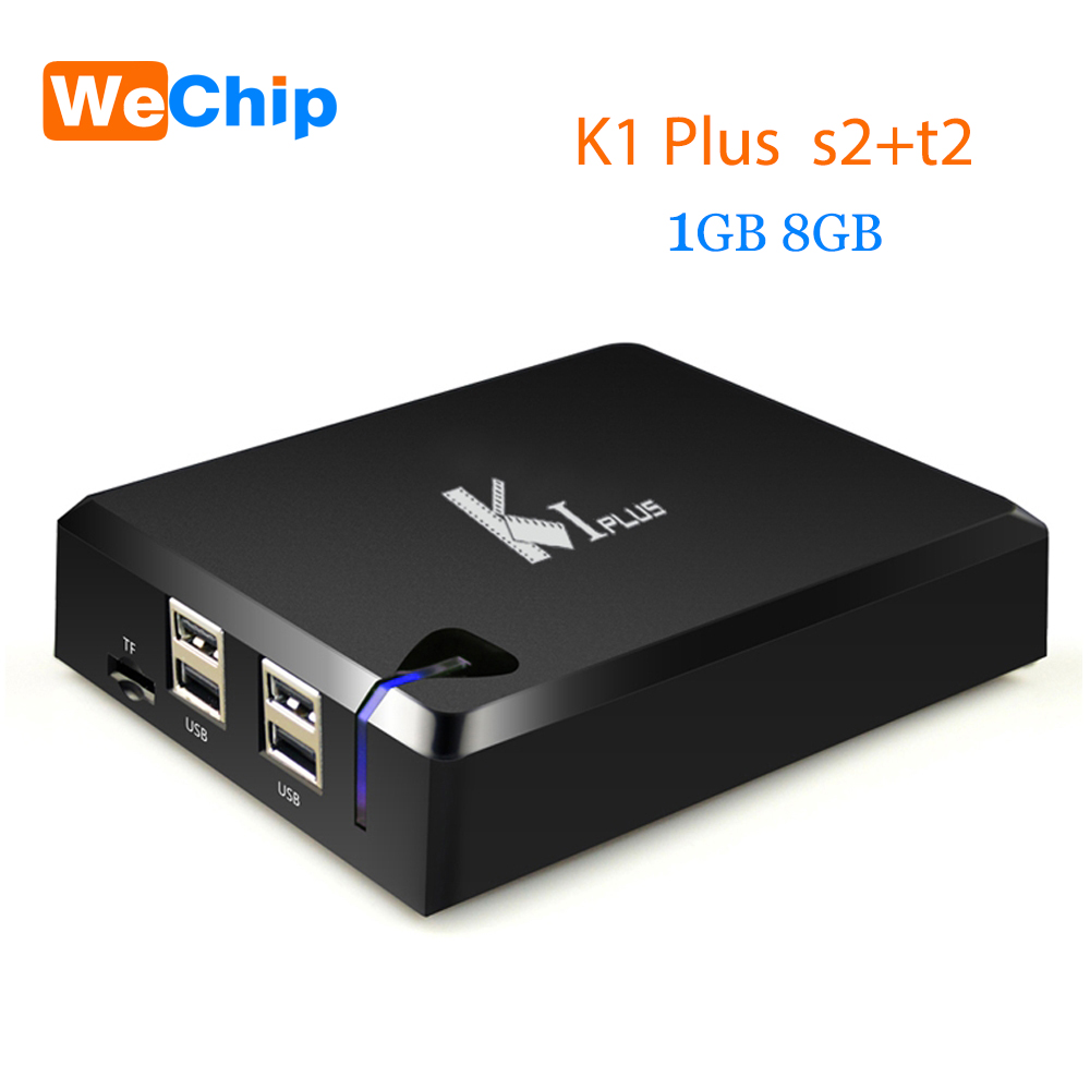 Wechip K1 PLUS +T2 S2 Amlogic S905 Quad core 64-bit Support DVB-T2 DVB-S2 1G/8G 1080p 4K Android 7.1 TV Box KI Plus S2 T2 mx plus amlogic s905 smart tv box 4k android 5 1 1 quad core 1g 8g wifi dlna потокового tv box