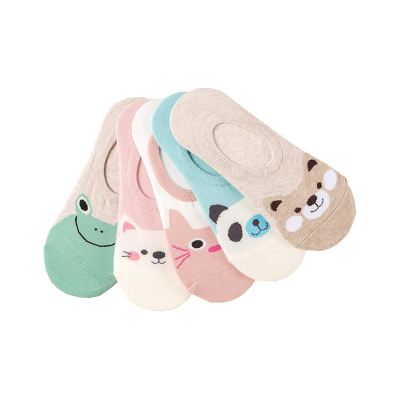5 Pairs/lot Women   Socks   Candy Color Small Animal Cartoon Pattern Boat   Sock   for Summer Breathable Casual Girls Funny Fashion