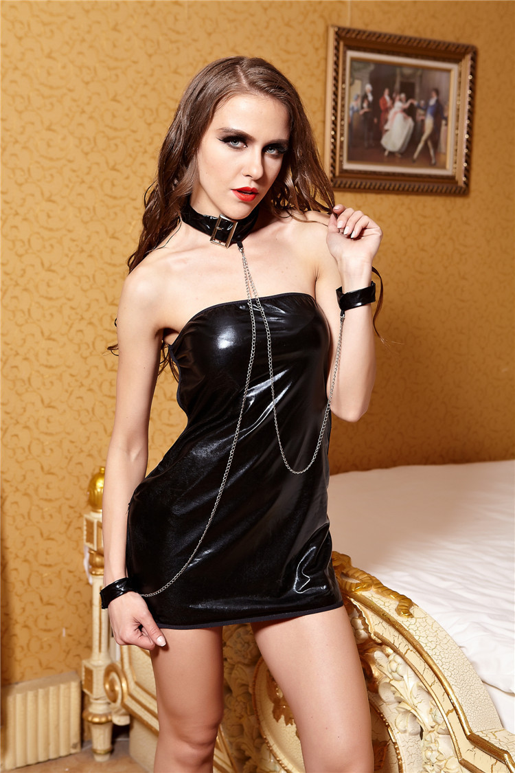 2015 New designs seduction uniform for Women Off the Shoulder Sexy Leather Bodycon Dress black lure Clubwear party Stripper