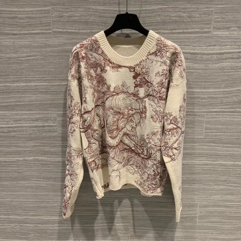 2019 women lady wool cashmere fashion embroidered sweater pullover