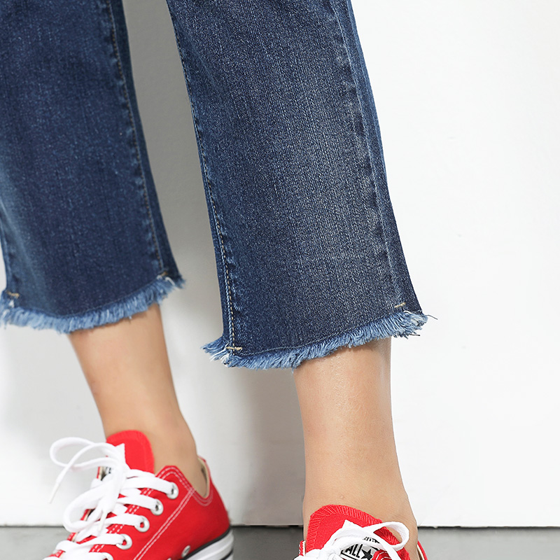 5696 Borla Moda Primavera Blue Mediados Las Cintura Del De Longitud La Mujeres Dark Skinny Vaqueros Tobillo Jeans Rectos Stretch Leijijeans Plus Tamaño Blanqueados IRFdx0x