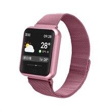 Sport IP68 inteligentny zegarek P68 bransoletka fitness śledzenie aktywności pulsometr ciśnienie krwi dla ios Android smartband z zegarkiem