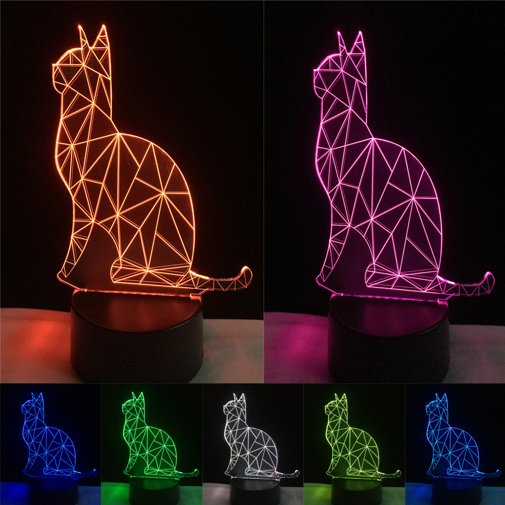 Hot 3D Benumbed Cat 7 Color Changing LED Night Light Illusion Desk Lamp Child Baby Bedroom Home Decor Best Friend&Holiday Gift