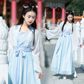 Chinese Folk Dance Costume Lady Hanfu Clothing Tang Dynasty Oriental Princess Ancient Hanfu Clothes National Lady Stage Dress